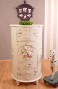 Romantik Kommode Landhausstil Rosenmalerei Schubladen Schrank Shabby
