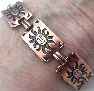 Copper-Bracelet-7-3-4-034-Linked-Wheeler-Sunburst-Arthritis-Healing-Folklore-cb-243