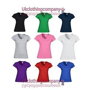 fd2b193f22f5 Gildan Softstyle Ladies V–Neck T–Shirt - Womens tops - Sizes S M L ...