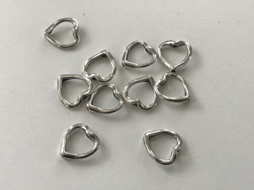 10 corazón entre perla 16 mm Daisy spacer marco perla metal plata perlas k40