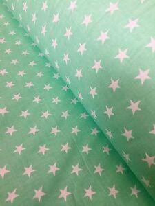 "width 160 cm Zigzag mint white 100/% Cotton Printed Fabric,Per meter 63/"""