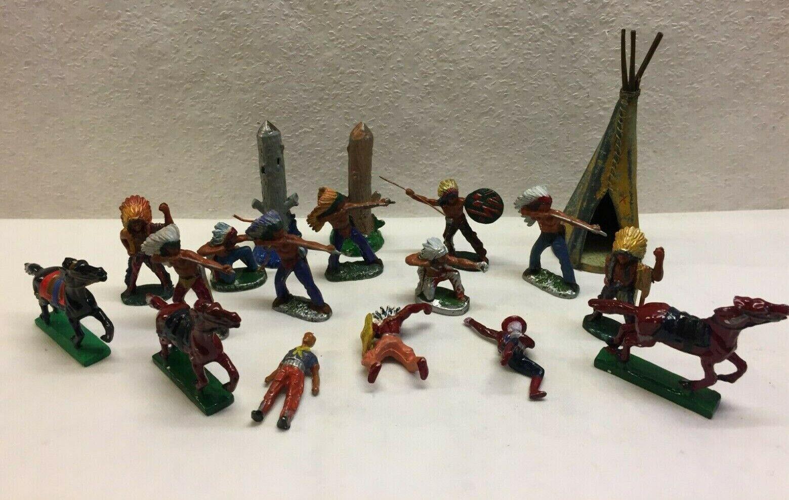 exclusivo Vintage Krolyn Lote danés juguete Diecast nativos americanos americanos americanos Indios De Metal Fundido 1950s  ¡envío gratis!