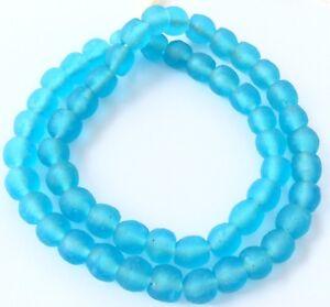 Handmade-Ghana-Light-Sky-Blue-Krobo-recycled-Glass-African-trade-Beads-Size-10mm