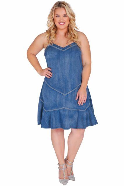 4bc47dc6a7 Standards   Practices Plus Size Women Ruffled Spaghetti Strap Tencel Denim  Dress