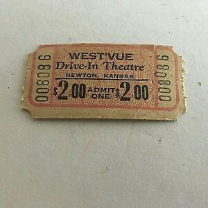 Vintage-West-039-vue-Drive-In-Theatre-Ticket-Newton-Kansas-Unused-New-Old-Stock