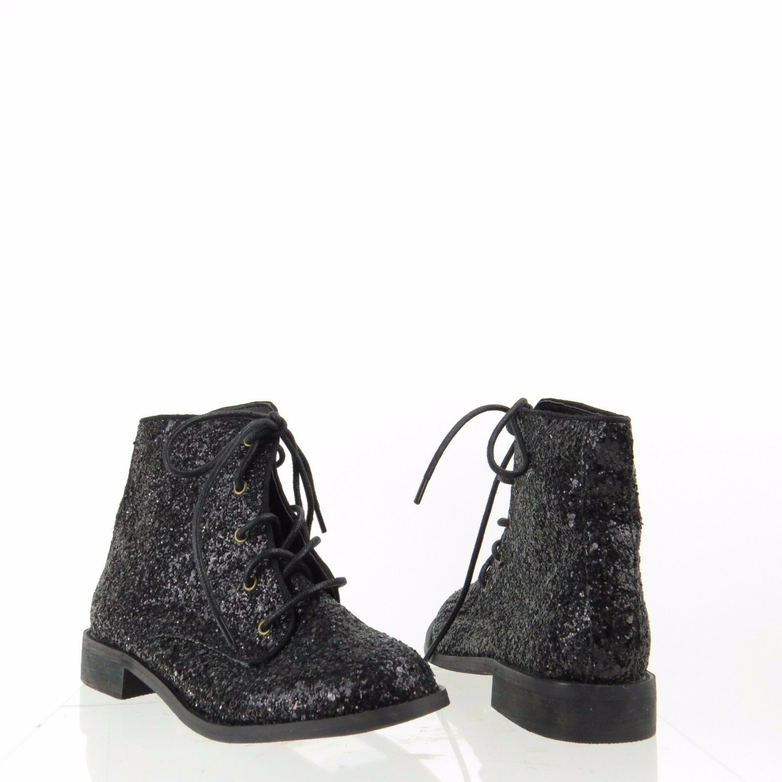 Women's Shellys London Kmenta Shoes Black Glitter Ankle Boots Size 5 M NEW!
