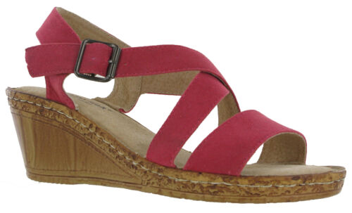 Cushion-Walk Wedge Sandals Leather Lined Padded Cushioned Comfort Ladies UK 3-8