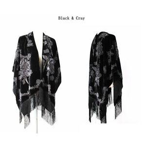 New-Style-Women-039-s-Poncho-Cape-Shawl-Silk-Burnout-Velvet-One-Size-Designed