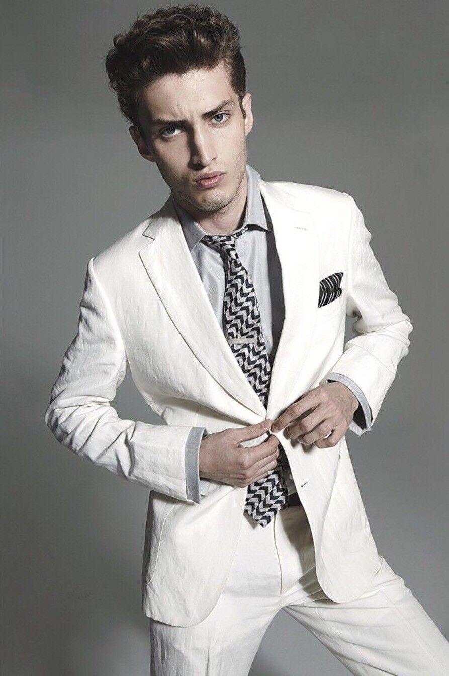New Armani Collezioni M-Line White Cotton Stretch Slim Fit Suit 56 46US