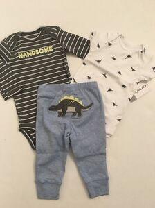 53ea2b7edb50 Carters Baby Boys Dinosaur Bodysuits Pants Set Size Preemie NB 3 6 9 ...