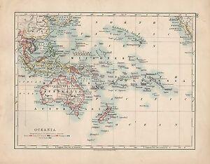 1909 MAP ~ OCEANIA ~ MICRONESIA POLYNESIA AUSTRALIA NEW ZEALAND PHILIPPINE