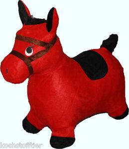 Hüpftier Pferdchen im Schlafrock ab 2 Jahre, bis 25 Kg mit rotem Stoffbezug
