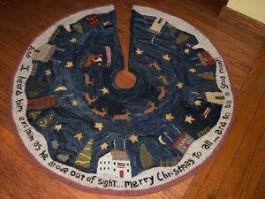 Details About Primitive Hooked Rug Pattern On Linen Christmas In New England Tree Skirt