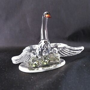 Swarovski-Figurine-Swan-Family-Retired-in-2004-Mint-in-Box