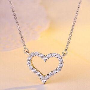 Damen-Silber-Herz-Halskette-Kette-Anhaenger-aus-925-Sterlingsilber-mit-Zirkonia