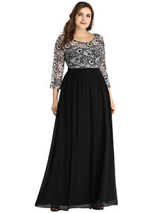 Ever-pretty US Lace Formal Evening Gowns Half-sleeve Plus Size Party Dress 7688