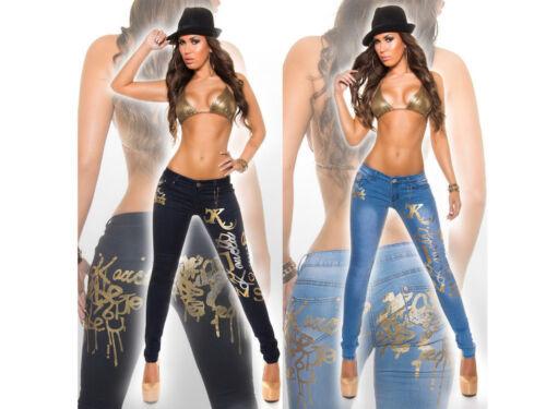 Stampa Pants Stretch Argento Donna Stretti Skinny Denim Pantaloni Jeans Oro Sexy FO7Awqn