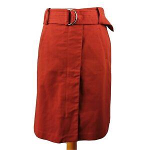 Warehouse-10-Rust-Orange-Zip-Front-Belted-Skirt-Short-Knee-Length-Autumn-Winter