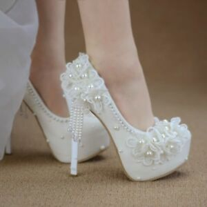 e6545367a Womens Round Toe pearl Wedding High Heel White Party Platform Shoes ...