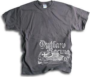 Biker-Outlaw-Racing-LA-1968-Skull-Wings-Vintage-Mens-Charcoal-T-Shirt-Hip-1pc