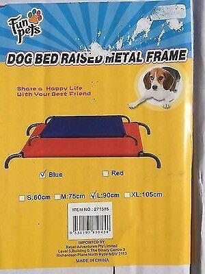 Raised Dog Pet Bed Blue Canvas Medium  Hammock Bed  90 X 55 CM