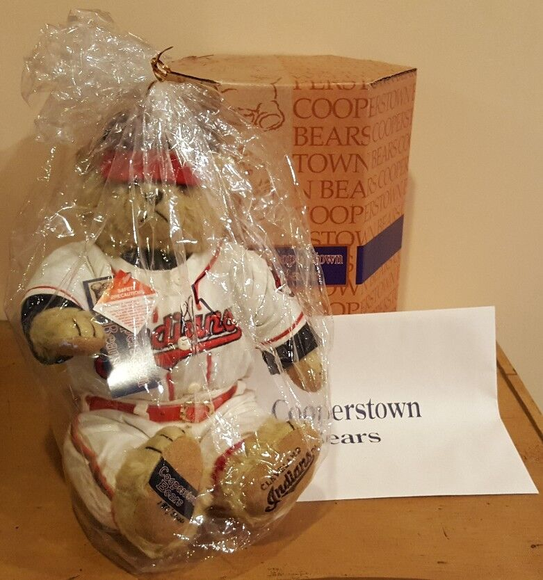 COOPERSTOWN BEARS MLB Cleveland Indiands PLUSH TEDDY No. 224 of 2,000 RARE BOX