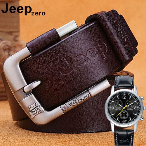 Jeep Zero Men/'s Genuine Leather Belts Fancy Jeans Designer WaistBand /&Free Gift