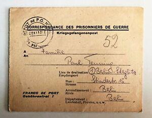 Lot-de-2-1947-WW-2-Prisonnier-de-guerre-plie-lettre-amp-CARTE-POSTALE-c-675