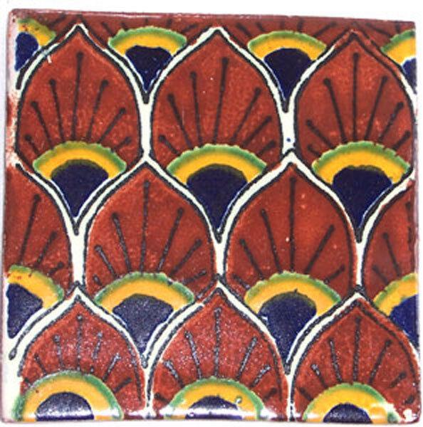 C118- Mexican Handmade Talavera Clay Tile Folk Art 4x4