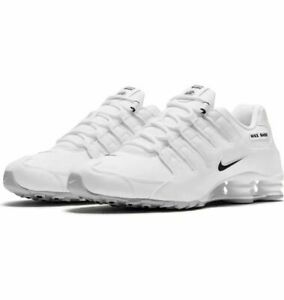 Nike-Shox-NZ-Mens-034-WHITE-LEATHER-034-501524-106-White-Black-SHIPS-DOUBLE-BOXED