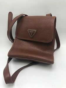 Vintage GUESS USA Brown Pebbled Leather Cross