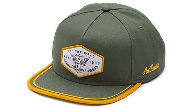 Vans Off The Wall Dalton Snapback Green Gold Emproidered Ptch NWT Mens Hat 9bbcf43fa83