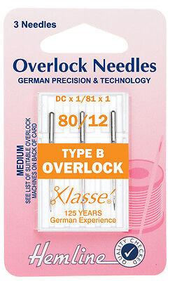 Sergers 3x 80//12 Med Type B Overlocker Machine Needles Hemline H107.B