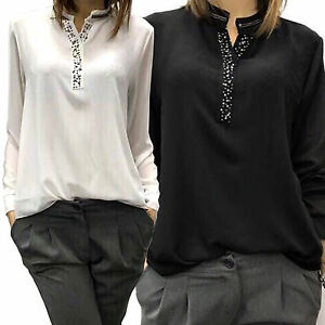 innovative design 6bb63 0f50a Dettagli su Camicia Casacca donna Collo Coreana con strass bianco o nero  art. D0594