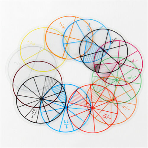 12pc Math Fraction Circles for Children Kids Student School Educational Toy FF