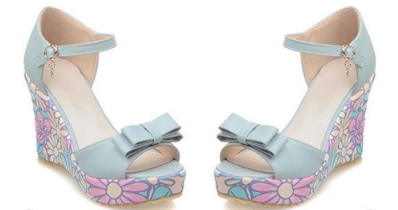 Sandalias de mujer abierto azul colorido cuña plataforma 10 elegantes cómodo