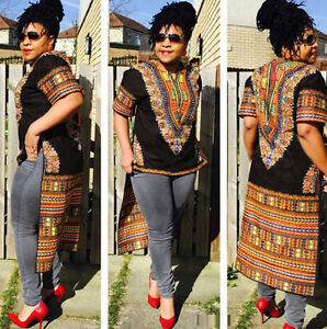 Women-African-Print-Dashiki-Dress-shirt-Boho-Hippie-Gypsy-Party-Top-Swallow-tail