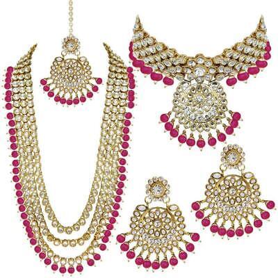 Women Girls Ethnic Gold Plated Kundan Pearl Wedding Necklace