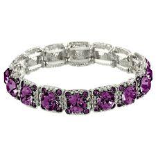 Crystal Bracelet Pave Rhinestones Square Cut Stretch SILVER AMETHYST Evening