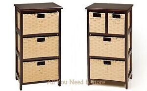 wood storage unit with 3 4 wicker baskets bedroom bathroom organizer