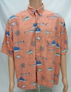Columbia-Mens-Button-Up-Casual-Shirt-Size-XL-Orange-Fish-Pattern-Short-Sleeve