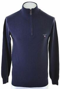 GANT-Mens-Zip-Neck-Jumper-Sweater-Small-Navy-Blue-Cashmere-NC05