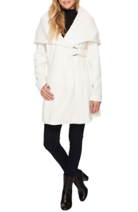 French Connection Womens Winter White Marla Coat Sz L 7045