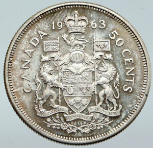 1963-CANADA-Queen-Elizabeth-II-Arms-Old-Vintage-Lion-SILVER-50-Cents-Coin-i86115