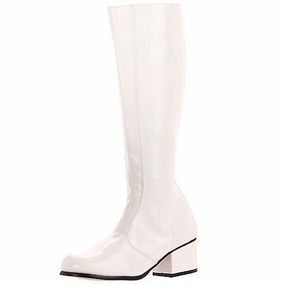 FUNTASMA Patent Retro Chunky Heel Knee High Boot Dancer GOGO White