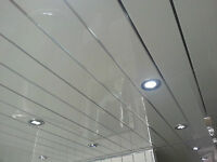 13 Twin White Pvc Panels With Chrome V Groove Insert For Bathroom Ceilings