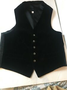 Mens-Black-Velvet-Vest-Satin-Back-Sz-42