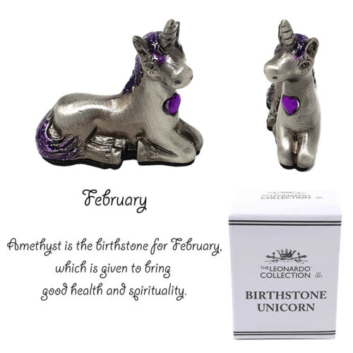 Pewter Unicorn Birthstone Collectible Magical Gemstone Home Ornament Gift Boxed