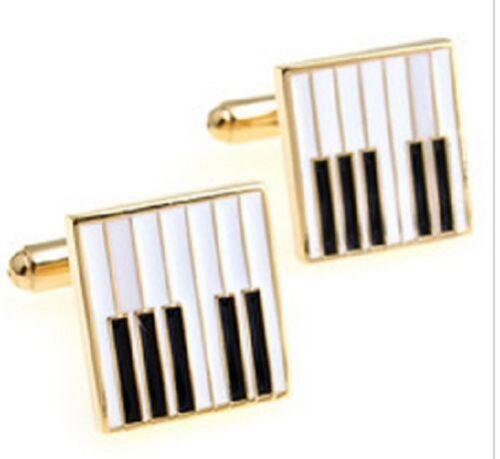Calidad Teclado Piano Pianista músico oro Llaves Llave Gemelos Placa órgano UK