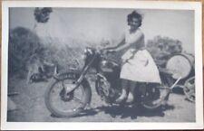 Motorcycle & Woman in Sun Dress - 1940 Realphoto Postcard/Photo